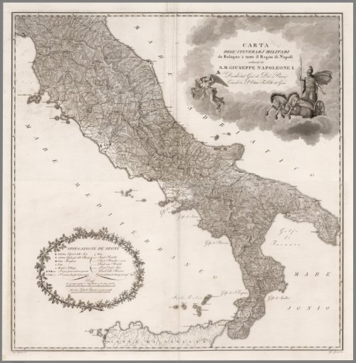 """Carta del' itinerarj militari da Bologna a tutto il Regno di Napoli,"" composite map from David Rumsey Historical Map Collection"